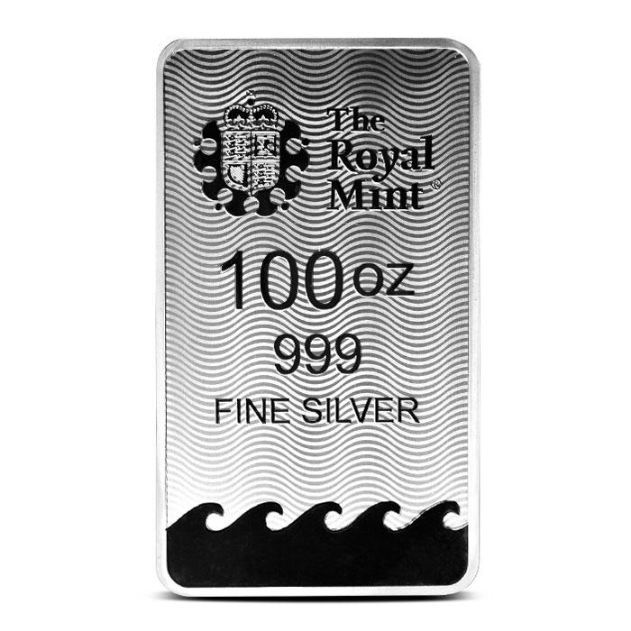 100 oz Silver Britannia Bar Reverse