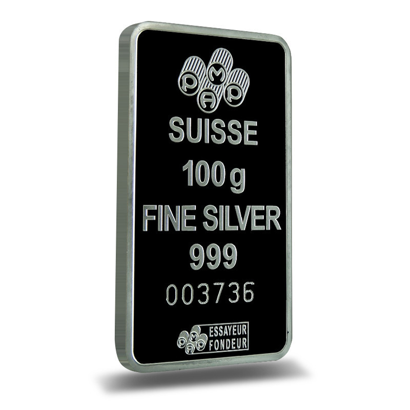 PAMP Suisse 100 gram Fortuna Silver Bar Reverse .999 Fine