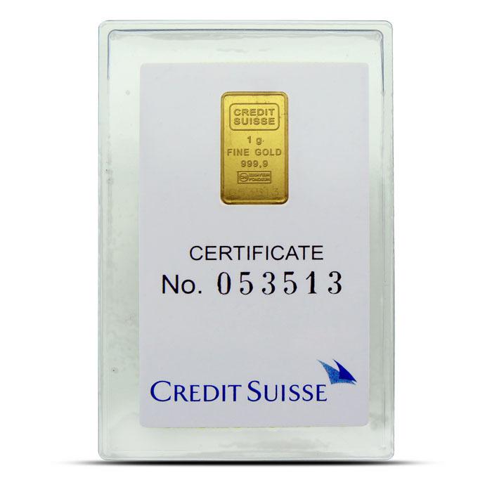 Credit Suisse 1 gram Statue of Liberty gold bar reverse