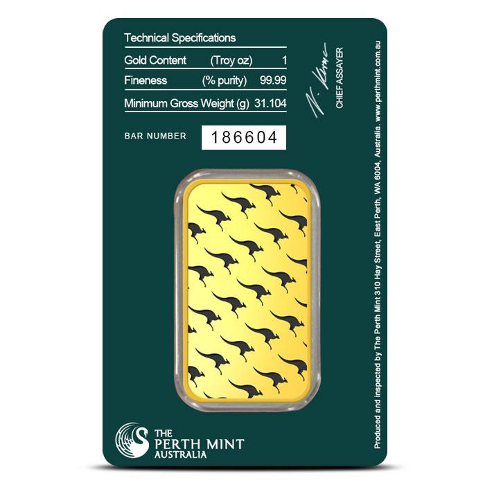 1 oz Perth Mint Gold Bar In Card Back