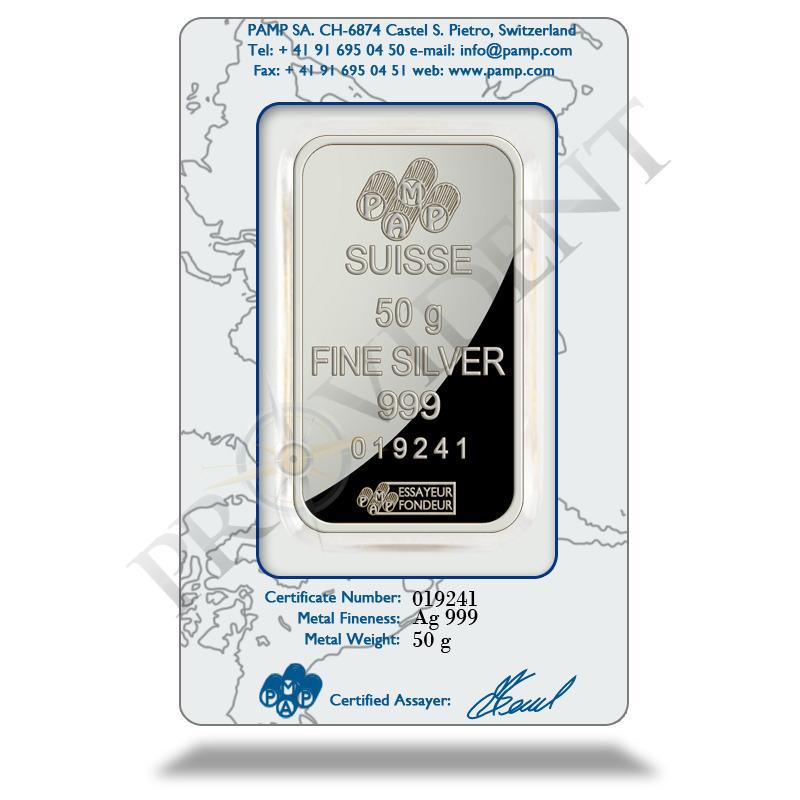 PAMP Suisse 50 gram Fortuna Silver Bar .999 Fine In Assay Card