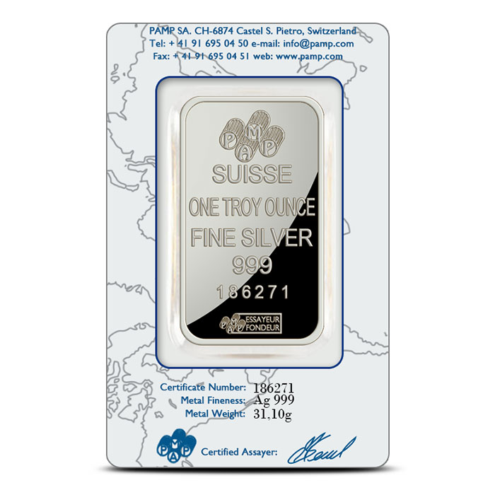 PAMP Suisse 1 oz Fortuna Silver Bar .999 Fine In Assay Card
