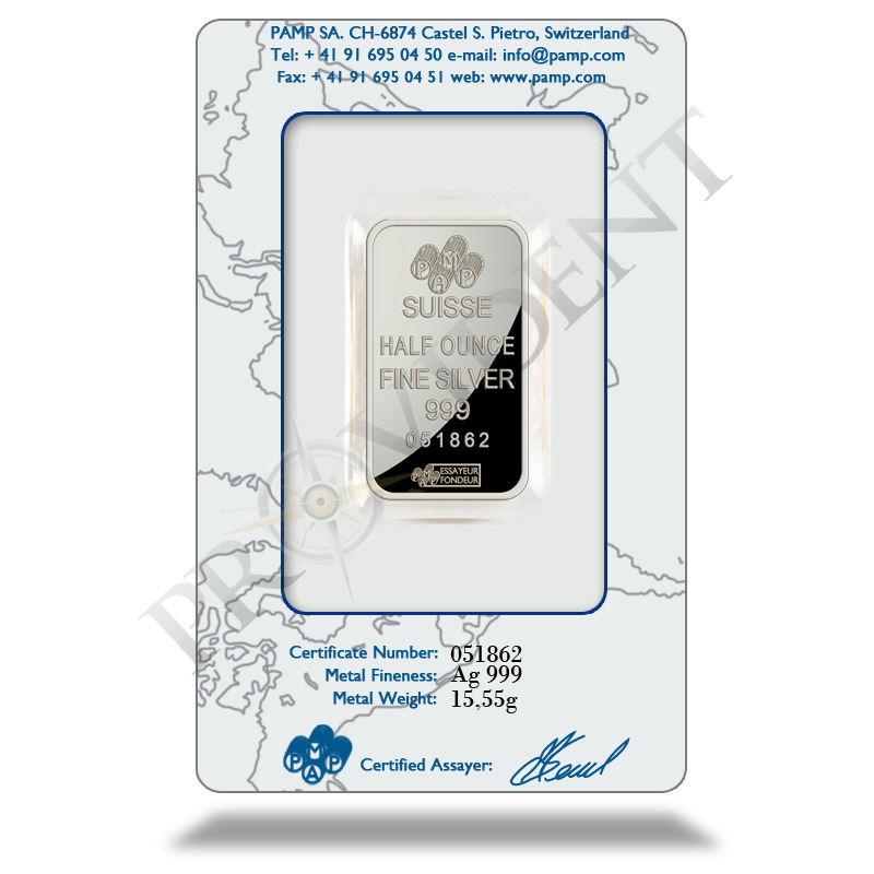 PAMP Suisse 1/2 oz Fortuna Silver Bar .999 Fine In Assay Card