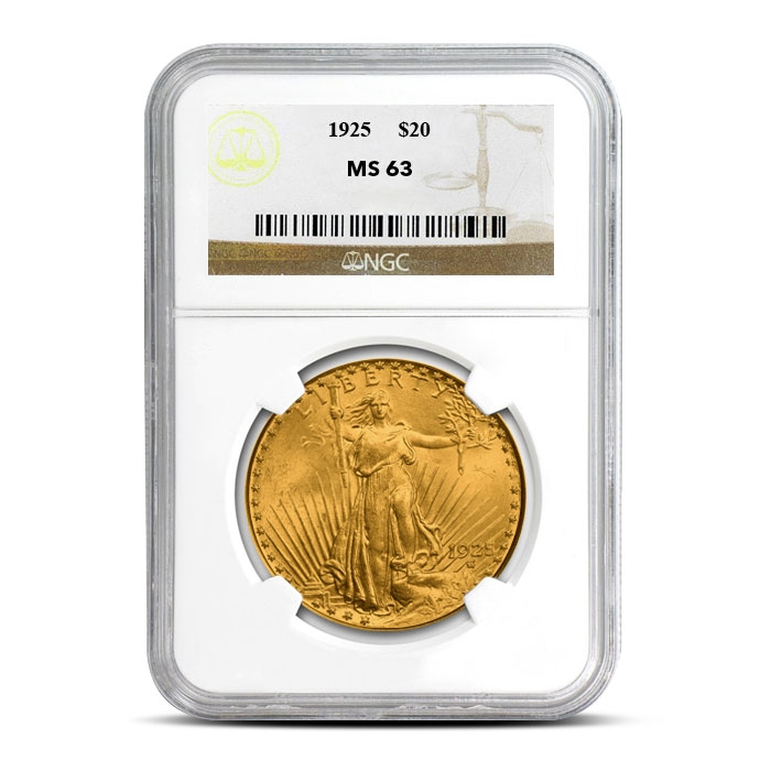 $20 Saint Gaudens NGC MS63 Gold Double Eagle Coin Slabbed
