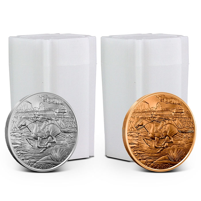 Buy 20 Pony Express Silver Rounds, Get 20 Pony Express Copper Rounds Free