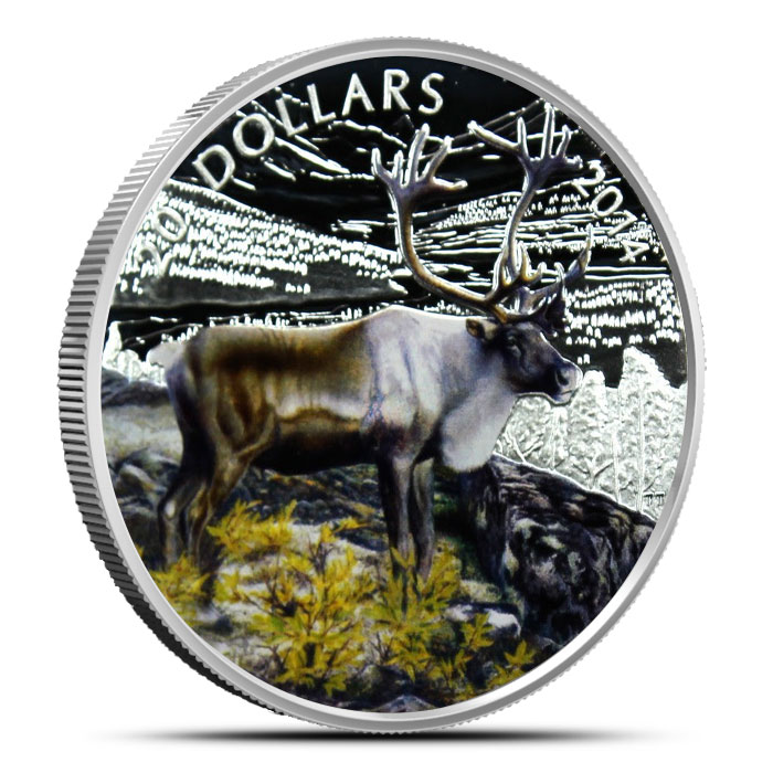 2014 1 oz Canadian Silver The Caribou Colorized