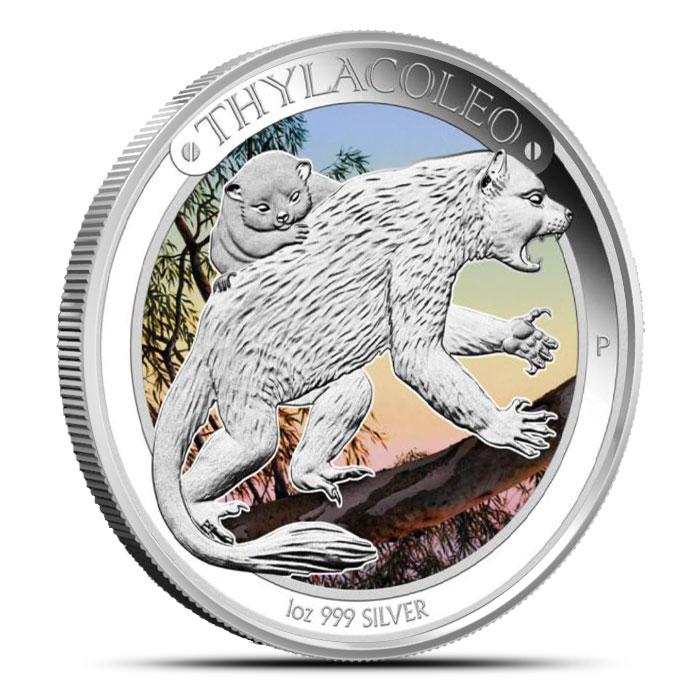 2014 1 oz Proof Silver Australian Megafauna | Thylacoleo