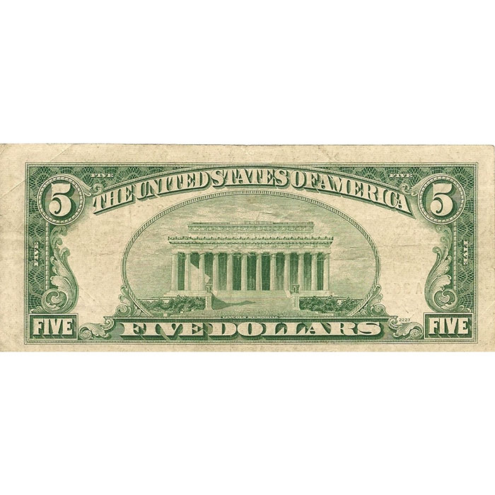 Small Size $5 Legal Tender US Note Reverse