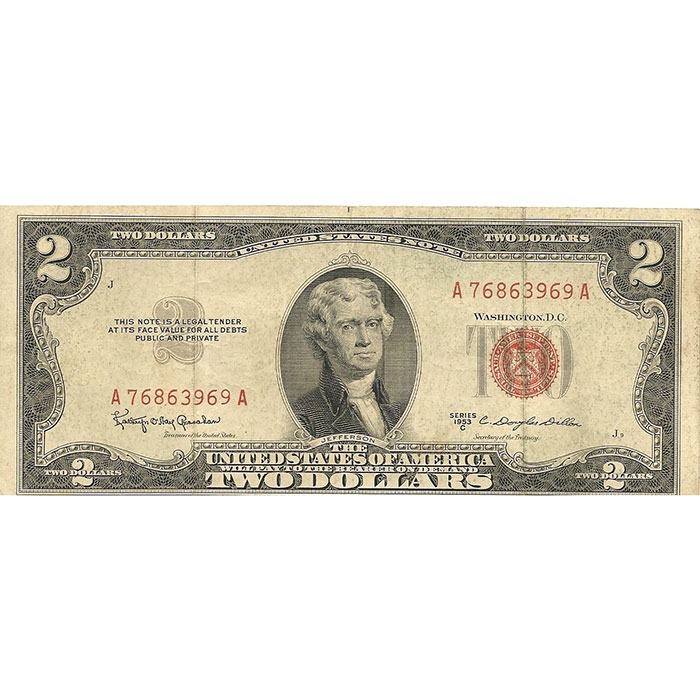 Circulated Small Size 1953-63 $2 Legal Tender US Note Front