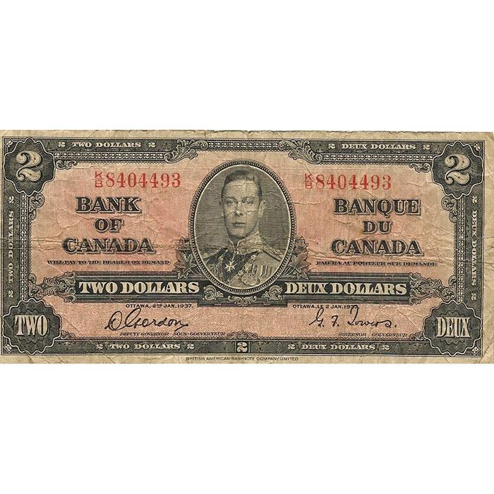 VG+ 1937 Canada 2 Dollar Front