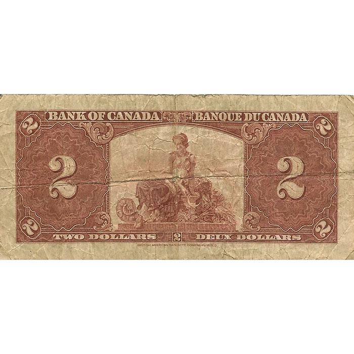 VG+ 1937 Canada 2 Dollar Reverse