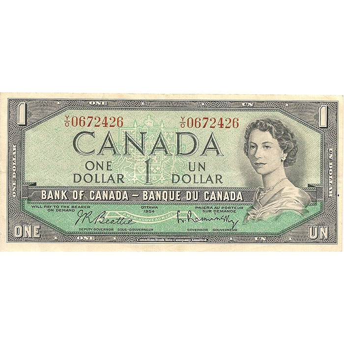 1954-1967 Canada 1 Dollar | Small Size | Extra Fine or Better-0