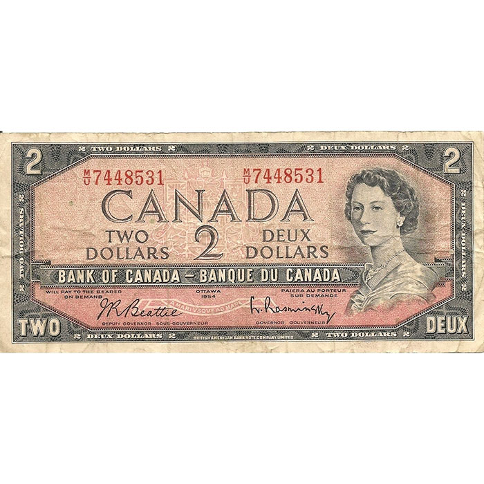 1954 Canada 2 Dollar   Small Size   Circulated-0