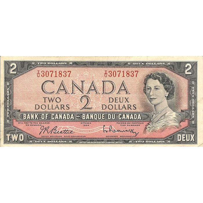 1954 Canada 2 Dollar | Small Size | Extra Fine or Better-0