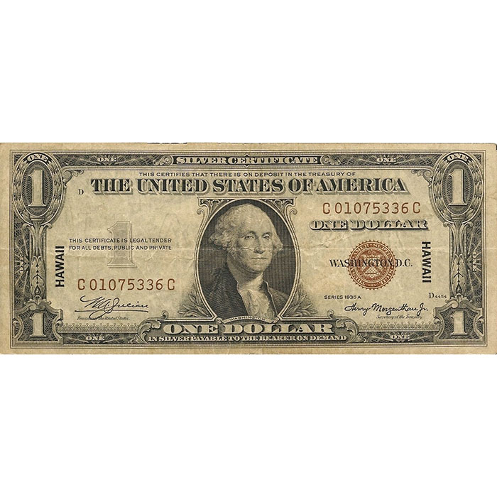 World War II Emergency Issue 1935 Hawaii $1 Silver Certificate Front
