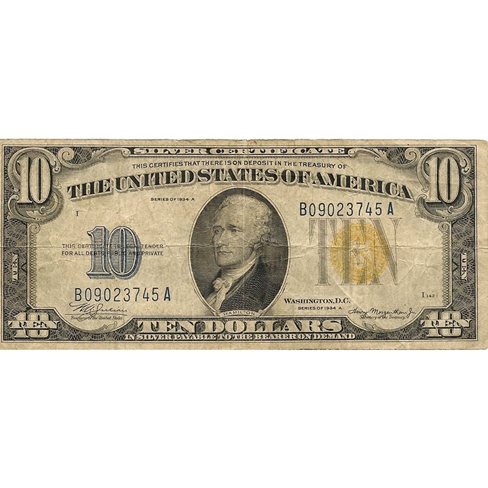 Fine/VF World War II Emergency Issue 1934 A North Africa $10 Silver Certificate Front