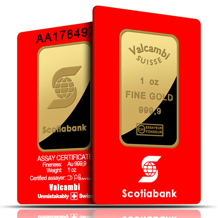 1 oz Scotiabank Gold Bars .9999 Fine in Assay Card