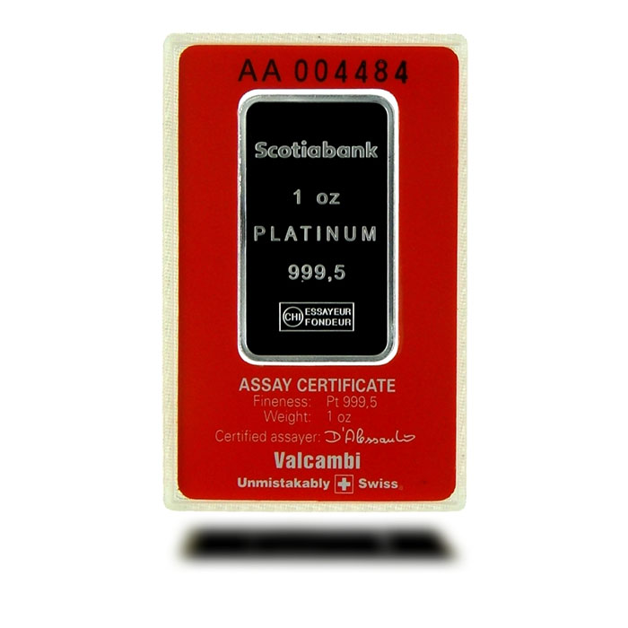 1 oz Scotiabank .9995 Fine Platinum Bullion Bar In Card Reverse