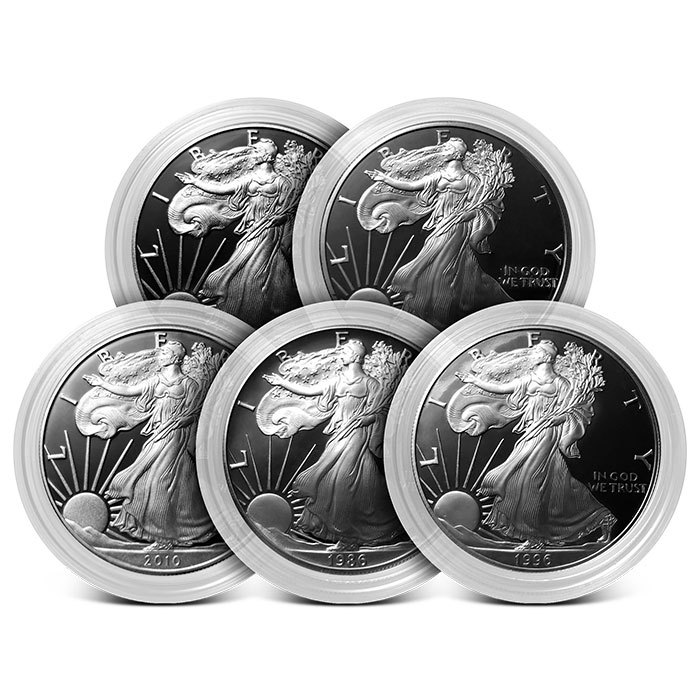 5 Date Set Proof Silver American Eagles