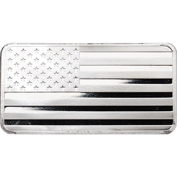 10 oz Silver American Flag Bar Front