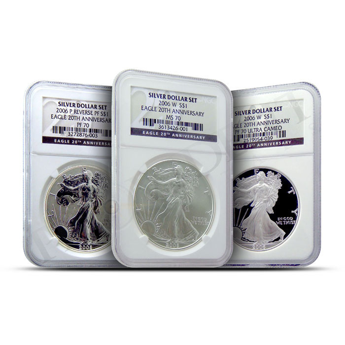 2006 American Silver Eagle 3-coin Set NGC MS/PF70