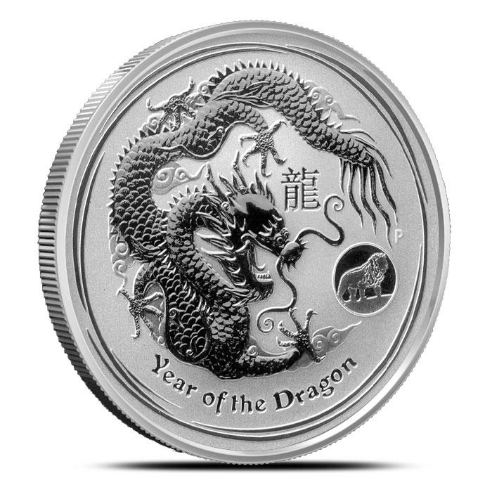 2012 1 oz Silver Year of the Dragon   Lion Privy   Perth Mint