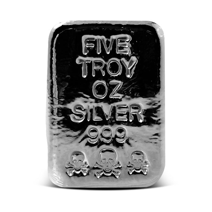 Skull and Crossbones Poured Silver Bar