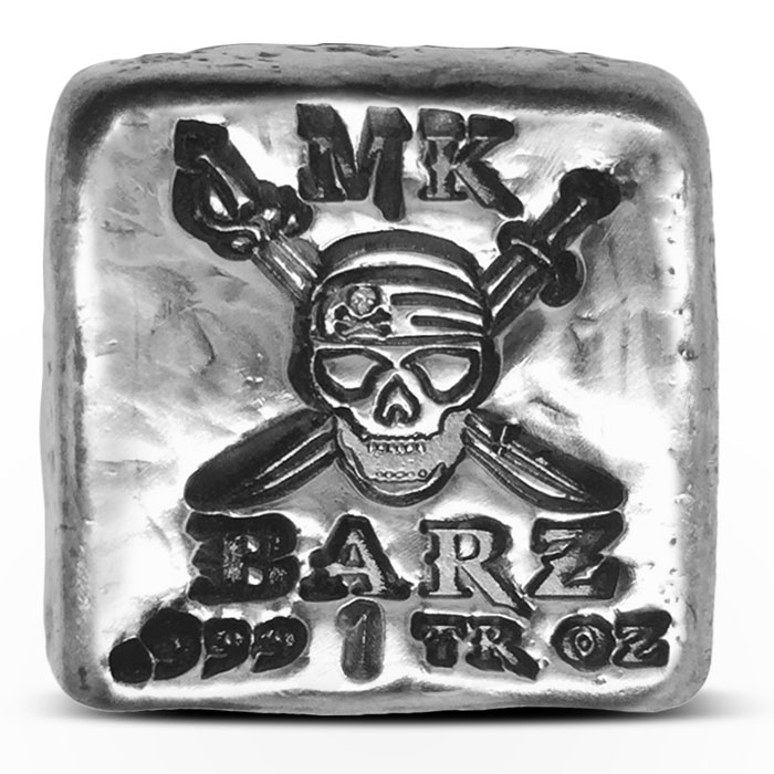 Skull and Swords Poured Silver Bar