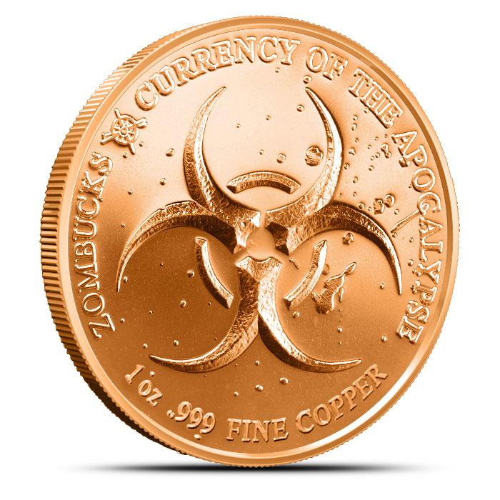 Zombucks Slayed Dollar one ounce Copper Round