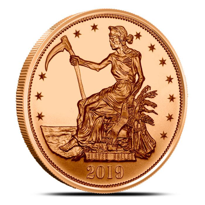 1 oz Copper Zombucks Slayed Dollar