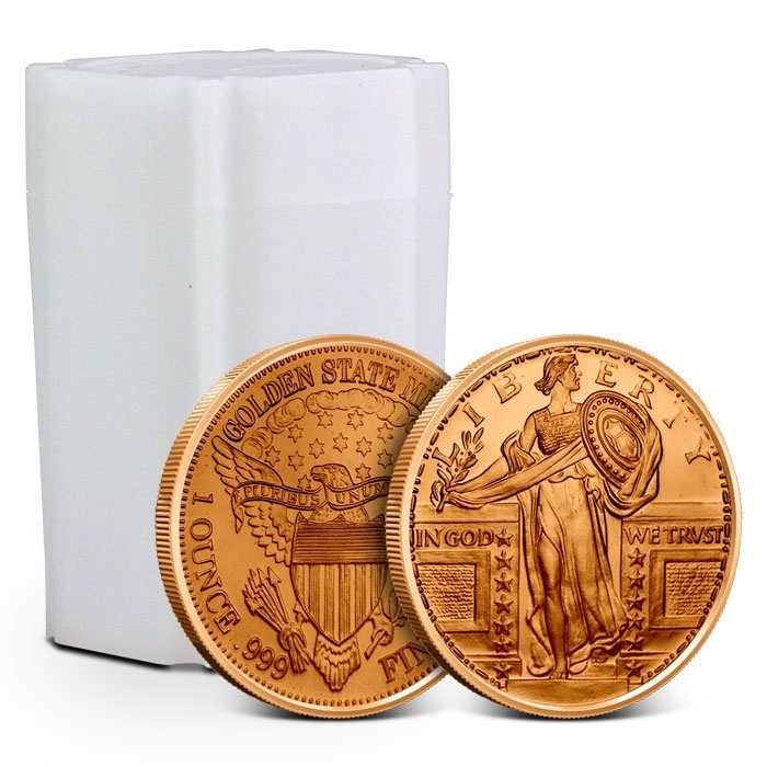Tube of Standing Liberty 1 oz Copper Round