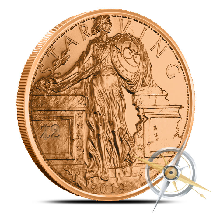 Zombucks Starving Liberty 1 oz Copper Round Obverse
