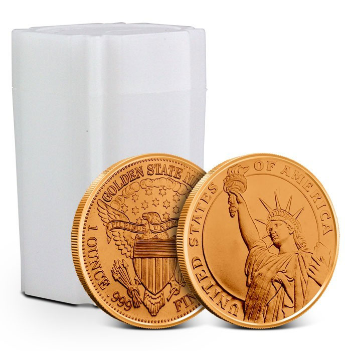 Tube of Statue of Liberty 1 oz Copper Rounds
