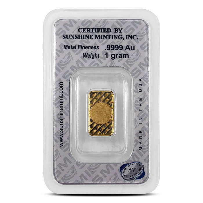 Sunshine Mint 1 gram Gold Bar in Assay Card