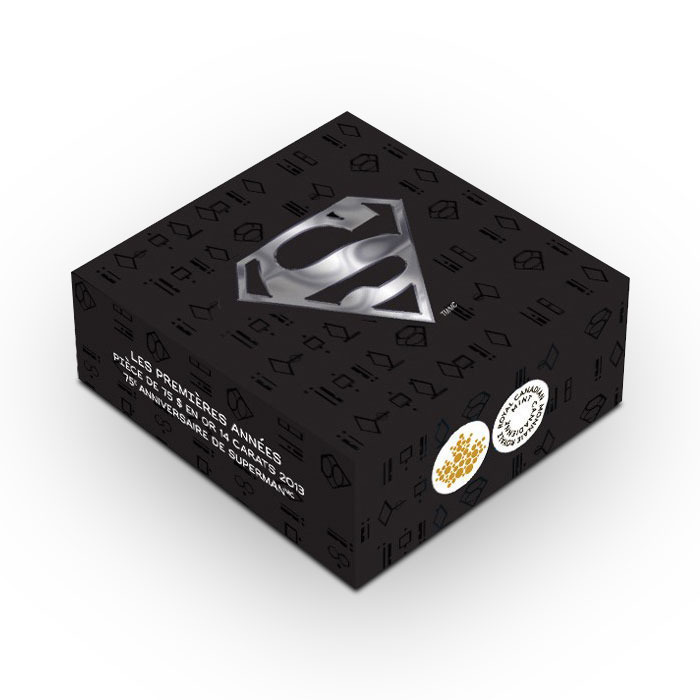 2013 $75 Canadian 14k Gold Superman Coin Black Box