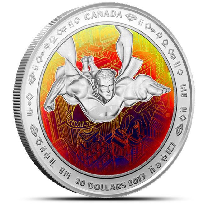 2013 Superman Metropolis Hologram 1 oz Silver $20 Canadian Coin & Graphic Box