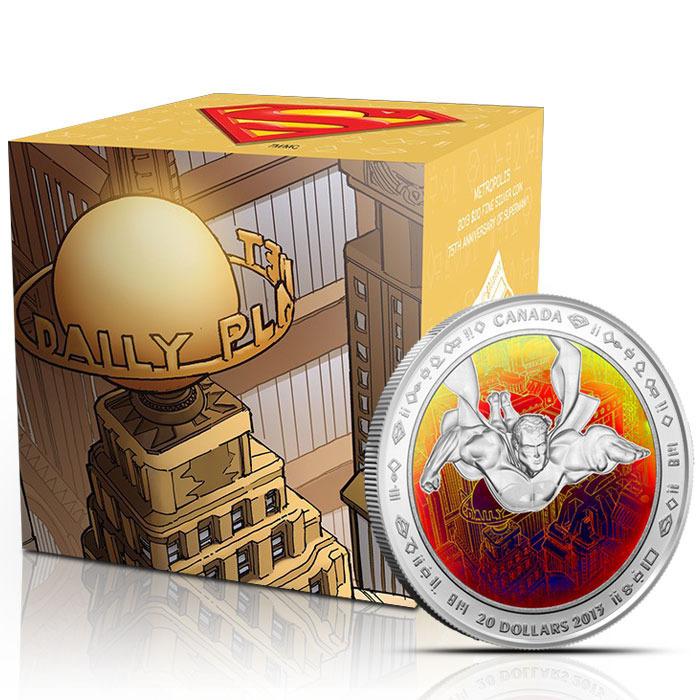 2013 Superman Metropolis Hologram 1 oz Silver $20 Canadian Coin