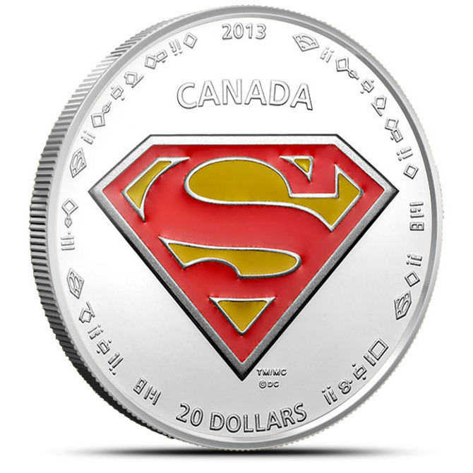 2013 Superman S Shield 1 oz Silver $20 Canadian Coin