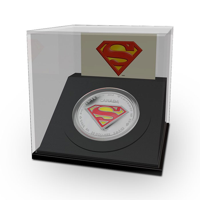 2013 Superman S Shield 1 ounce Silver Coin in Display Box