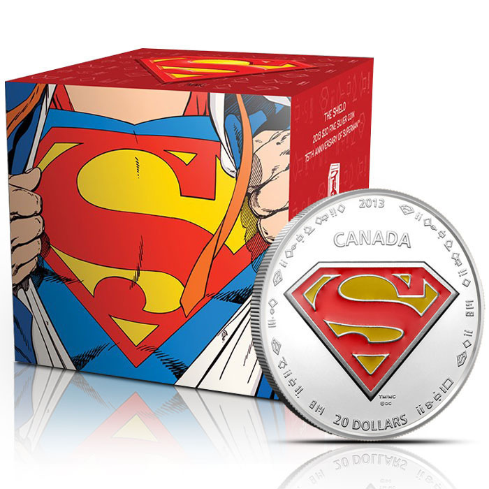 2013 Superman S Shield 1 ounce Silver Coin and Graphic Box