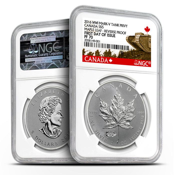 2016 Silver Maple Mark V Privy | NGC First Day of Issue PF70