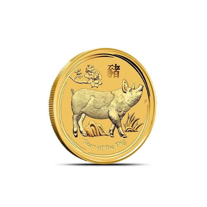 2019 1/10 oz Gold Lunar Pig Reverse