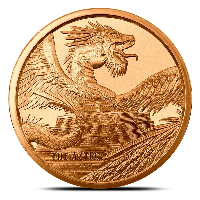 The Aztec 1 oz Copper Round | World of Dragons