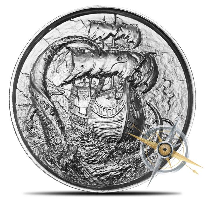Elemetal Kraken 2 oz Silver Ultra High Relief Round