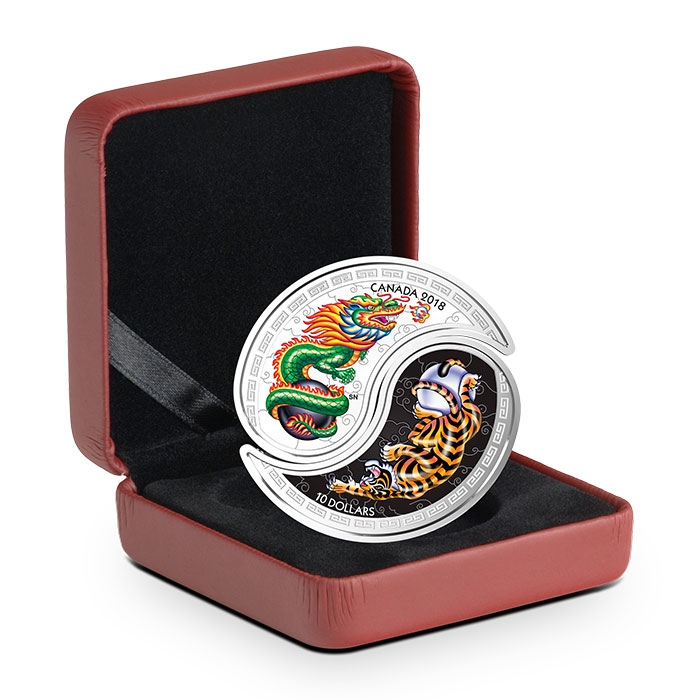 2018 Tiger & Dragon Yin & Yang 1 oz Silver Coin in Packaging