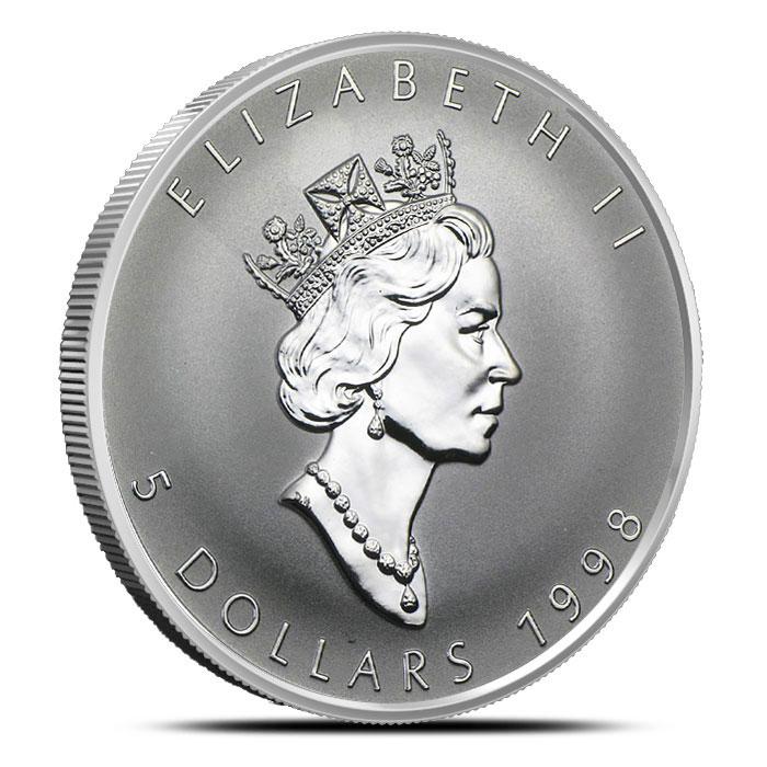 "1998 1 Oz Canada Silver Maple Leaf ""Titanic"" Coin Obverse"