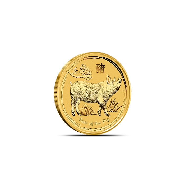 2019 1/20th oz Gold Lunar Pig Reverse