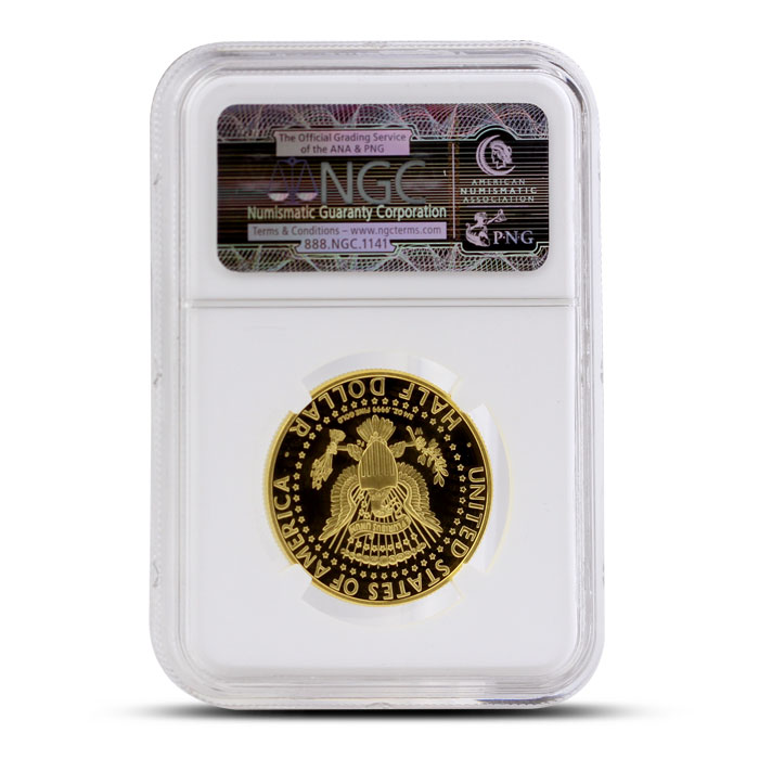 2014 24 kt Gold Kennedy 50th Anniversary 50C | ANA Inaugural Release NGC PF69 Ultra Cameo Reverse