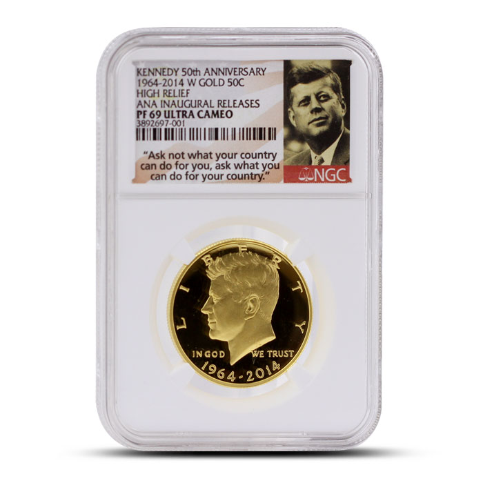 2014 24 kt Gold Kennedy 50th Anniversary 50C | ANA Inaugural Release NGC PF69 Ultra Cameo Obverse
