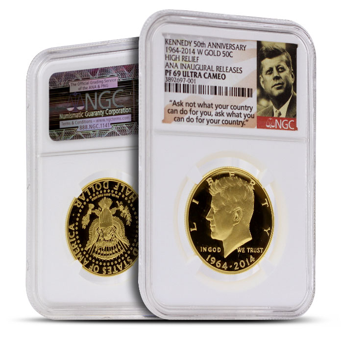 2014 24 kt Gold Kennedy 50th Anniversary 50C | ANA Inaugural Release NGC PF69 Ultra Cameo
